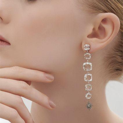 Par-de-brincos-de-ouro-nobre-18K-com-cristais-de-rocha-e-diamantes-cognac---Colecao-Moonlight---LookBook