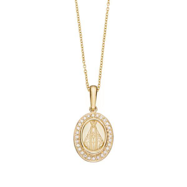 ME2B209173-edalha de ouro amarelo 18K com diamantes - Nossa Senhora Aparecida - Coleção Santos