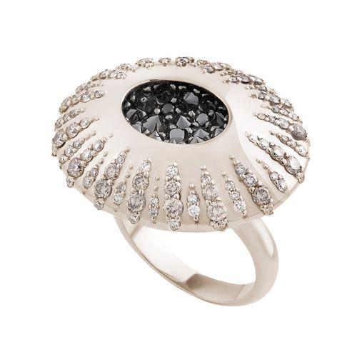 Anel de Ouro Nobre 18K com diamantes cognac e negros - Maior - Coleção Gravity