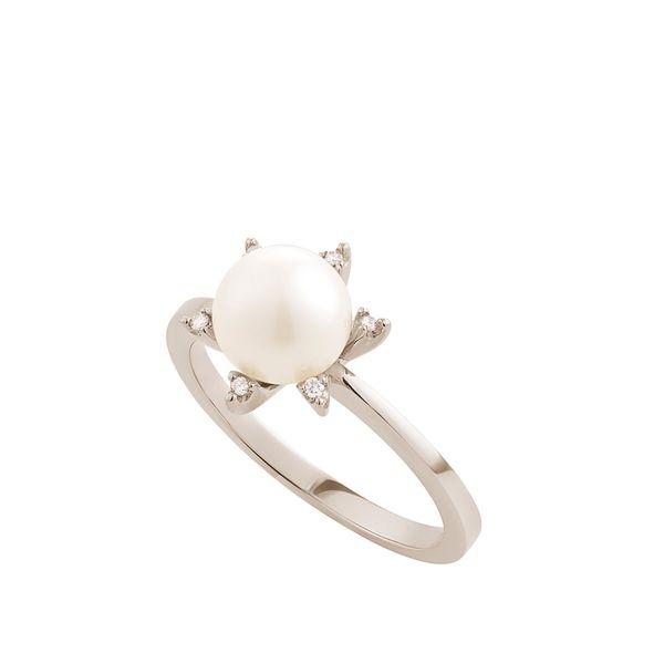 Anel de Ouro Nobre 18K com pérola e diamantes - Coleção Gravity